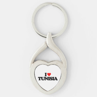 I LOVE TUNISIA Silver-Colored Heart-Shaped METAL KEYCHAIN