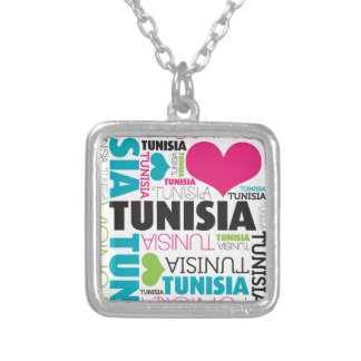 I Love Tunisia Silver Plated Necklace