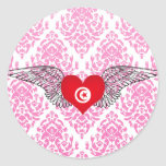 I Love Tunisia -wings Round Sticker