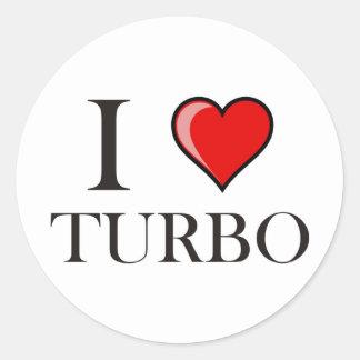 I Love Turbo Classic Round Sticker
