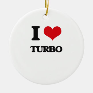 I Love TURBO Double-Sided Ceramic Round Christmas Ornament