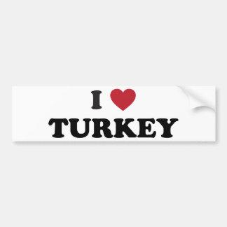 I Love Turkey Car Bumper Sticker