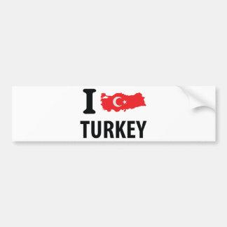 I love turkey contour icon bumper sticker