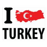 I love turkey contour icon post cards