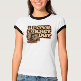 I Love Turkey Day Ladies Melange Ringer T Shirt