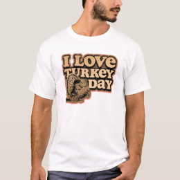 I Love Turkey Day Mens Retro Style Ringer T Shirt