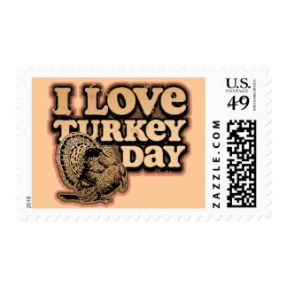 I Love Turkey Day Postage Stamps