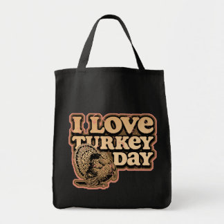 I Love Turkey Day Reusable Canvas Tote Bag