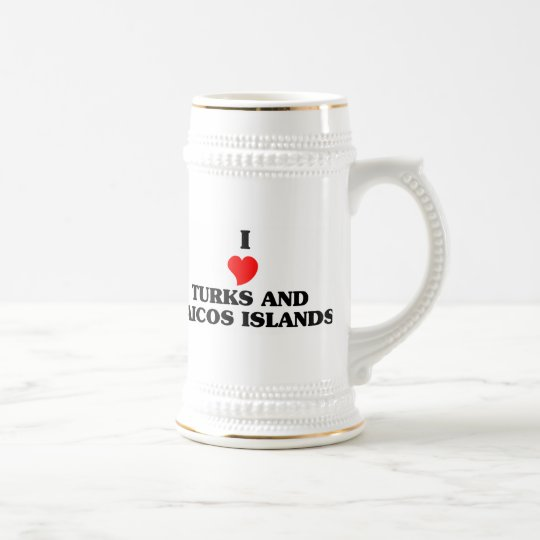 I Love Turks and Caicos Islands Beer Stein