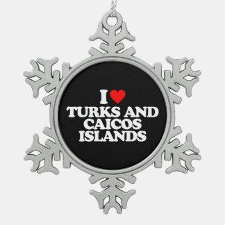 I LOVE TURKS AND CAICOS ISLANDS ORNAMENTS