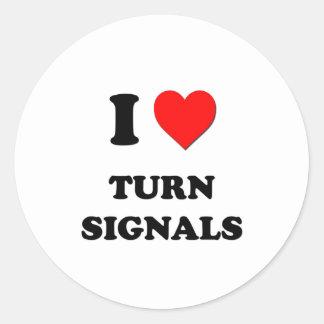 I love Turn Signals Classic Round Sticker