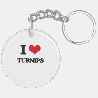 I love Turnips Double-Sided Round Acrylic Keychain