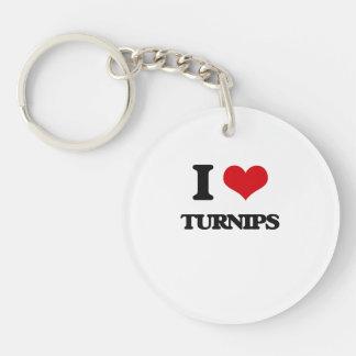 I love Turnips Single-Sided Round Acrylic Keychain