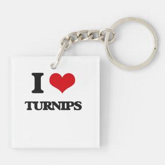 I love Turnips Double-Sided Square Acrylic Keychain