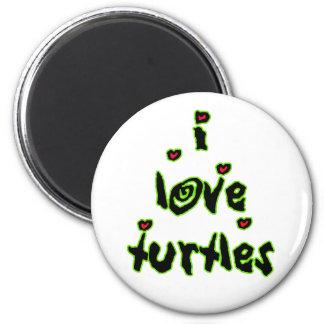 I Love Turtles 2 Inch Round Magnet