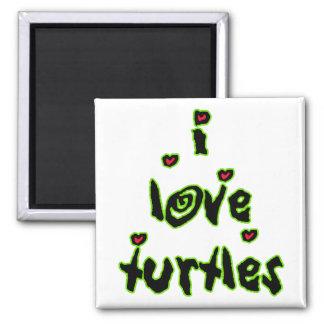 I Love Turtles 2 Inch Square Magnet