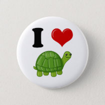 I Love Turtles Button