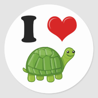 I Love Turtles Classic Round Sticker