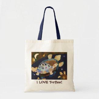 I LOVE Turtles! Cute Grocery Tote Bag