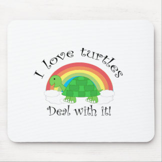 I love turtles deal withit mouse pad