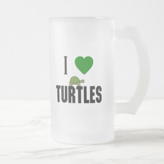 I Love Turtles Frosted Glass Beer Mug