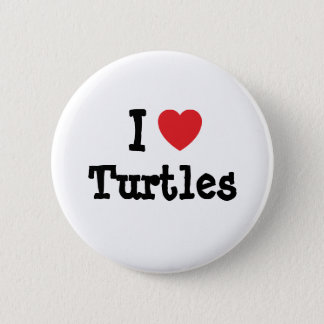 I love Turtles heart custom personalized Button