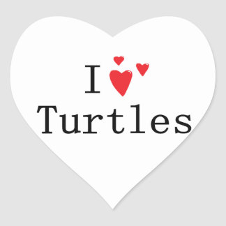 I Love Turtles Heart Sticker