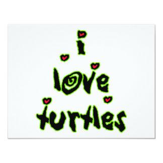 "I Love Turtles 4.25"" X 5.5"" Invitation Card"
