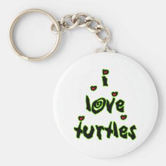 I Love Turtles Keychain