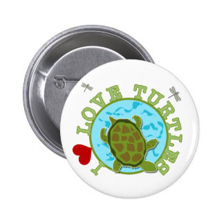 I Love Turtles Tshirts and Gifts Pinback Button