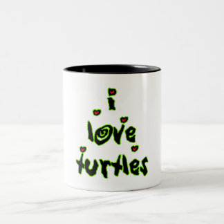 I Love Turtles Two-Tone Coffee Mug