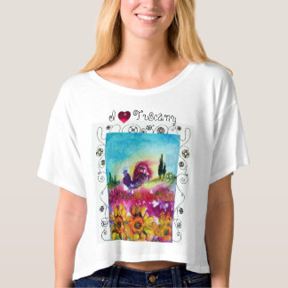 I LOVE TUSCANY,SUNFLOWERS,POPPIES,BLACK ROOSTER T-SHIRT