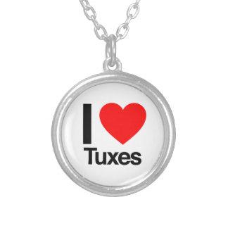 i love tuxes round pendant necklace
