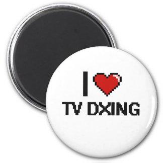 I Love Tv Dxing Digital Retro Design 2 Inch Round Magnet