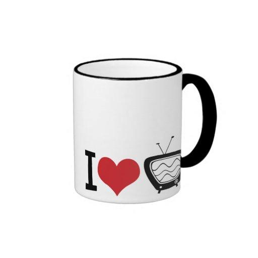 I Love TV Ringer Coffee Mug
