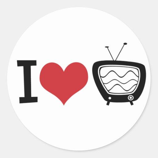 I Love TV Round Stickers