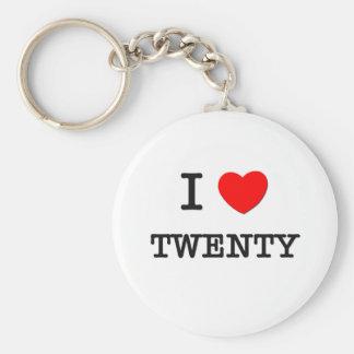 I Love Twenty Basic Round Button Keychain