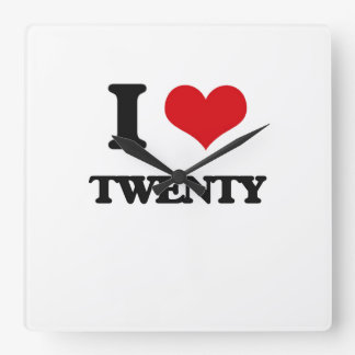I love Twenty Square Wall Clock