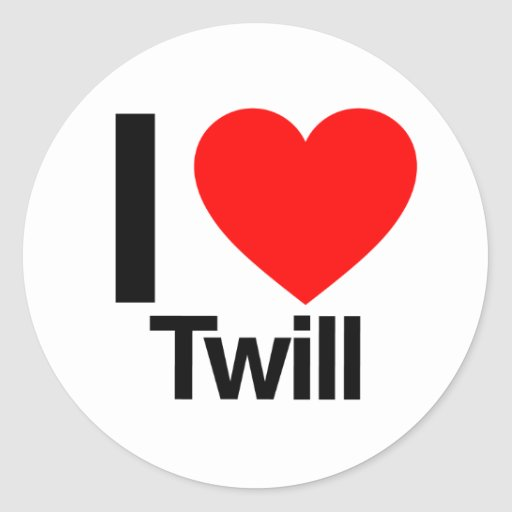i love twill round stickers