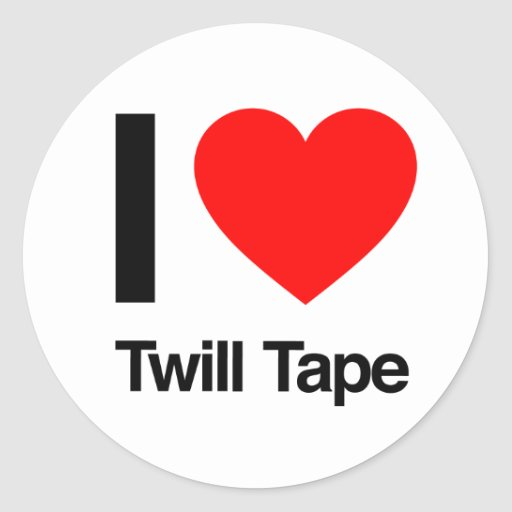 i love twill tape round stickers