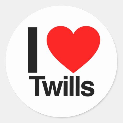 i love twills round stickers