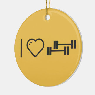 I Love Twin Dumbbells Double-Sided Ceramic Round Christmas Ornament