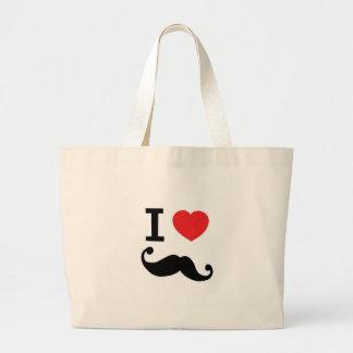 I Love twirly mustache Bag