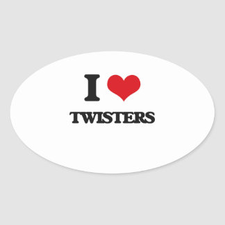 I love Twisters Oval Sticker