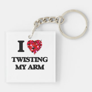 I love Twisting My Arm Double-Sided Square Acrylic Keychain