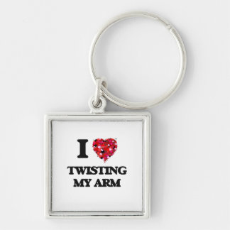 I love Twisting My Arm Silver-Colored Square Keychain