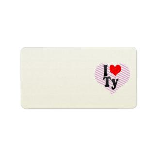 I love Ty Address Label