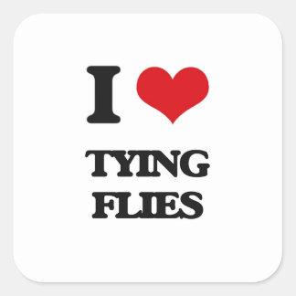 I love Tying Flies Square Sticker
