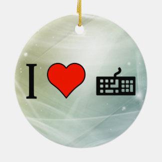 I Love Typewriter Double-Sided Ceramic Round Christmas Ornament