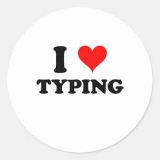 I Love Typing Classic Round Sticker